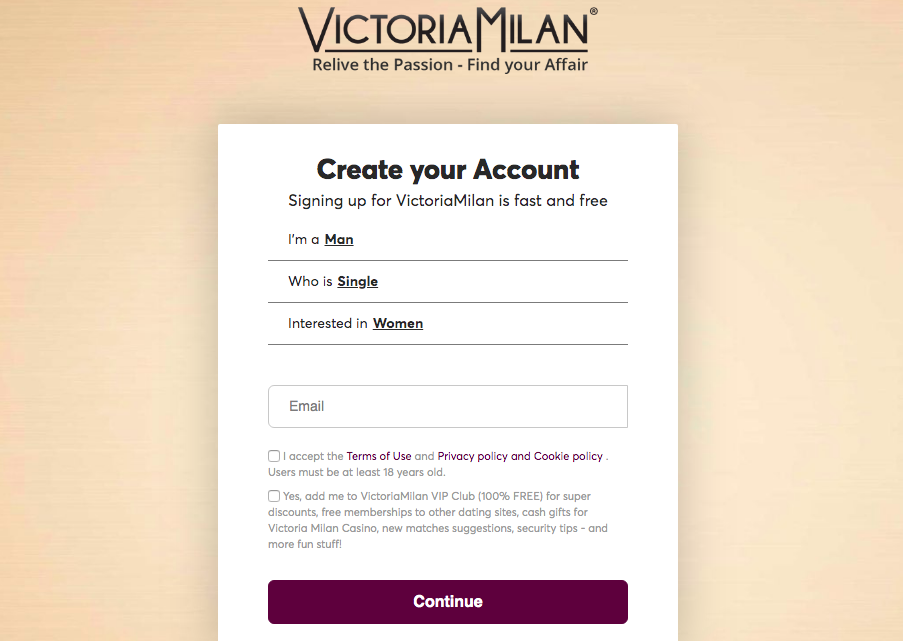 VictoriaMilan registration